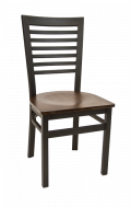 High Ladder Back Metal Chair w/ Veneer Seat