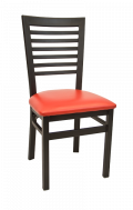 High Ladder Back Metal Chair w/ Vinyl Seat