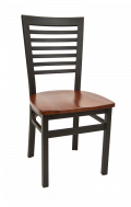High Ladder Back Metal Chair w/ Wood Seat