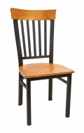 Vertical Slat Back Metal Chair w/ Cherry Back and Veneer Seat