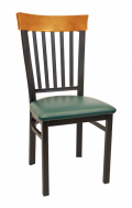 Vertical Slat Back Metal Chair w/ Cherry Back and Vinyl Seat