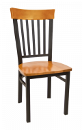 Vertical Slat Back Metal Chair w/ Cherry Back and Wood Seat