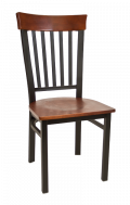 Vertical Slat Back Metal Chair w/ Dark Mahogany Back and Veneer Seat