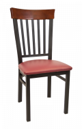 Vertical Slat Back Metal Chair w/ Dark Mahogany Back and Vinyl Seat
