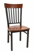Vertical Slat Back Metal Chair w/ Dark Mahogany Back and Wood Seat