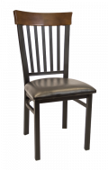 Vertical Slat Back Metal Chair w/ Walnut Back and Vinyl Seat