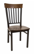 Vertical Slat Back Metal Chair w/ Walnut Back and Wood Seat