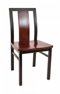 Center Slat Metal Chair w/ Wood Seat