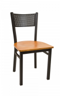 Perforated Back Metal Chair w/ Veneer Seat