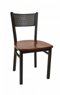 Perforated Back Metal Chair w/ Wood Seat