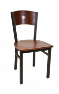 Star Back Metal Chair w/ Dark Mahogany Back and Veneer Seat