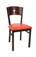 Star Back Metal Chair w/ Dark Mahogany Back and Vinyl Seat