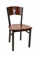 Star Back Metal Chair w/ Dark Mahogany Back and Wood Seat