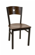 Star Back Metal Chair w/ Walnut Back and Veneer Seat