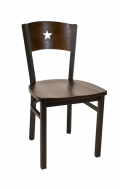 Star Back Metal Chair w/ Walnut Back and Wood Seat