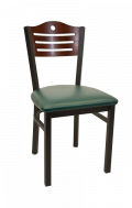 3 Slats with Circle Metal Chair w/ Dark Mahogany Back and Vinyl Seat