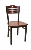 3 Slats with Circle Metal Chair w/ Dark Mahogany Back and Wood Seat