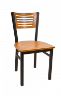 5 Slats Metal Chair w/ Cherry Back and Veneer Seat