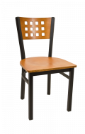 Lattice Back Metal Chair w/ Cherry Back and Veneer Seat