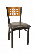 Lattice Back Metal Chair w/ Cherry Back and Vinyl Seat