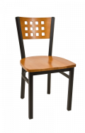 Lattice Back Metal Chair w/ Cherry Back and Wood Seat