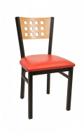 Lattice Back Metal Chair w/ Natural Back and Vinyl Seat