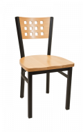 Lattice Back Metal Chair w/ Natural Back and Wood Seat