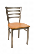Clear Coated Ladder Back Chair w/ Veneer Seat