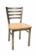 Clear Coated Ladder Back Chair w/ Wood Seat