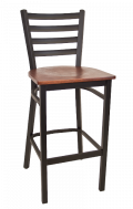 Ladder Back Metal Barstool w/ Veneer Seat
