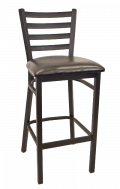 Ladder Back Metal Barstool w/ Vinyl Seat