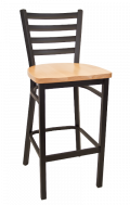 Ladder Back Metal Barstool w/ Wood Seat