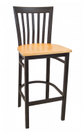Elongated Vertical Back Metal Barstool w/ Veneer Seat