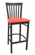 Elongated Vertical Back Metal Barstool w/ Vinyl Seat