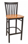 Elongated Vertical Back Metal Barstool w/ Wood Seat