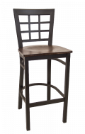 Window Back Metal Barstool w/ Veneer