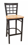Window Back Metal Barstool w/ Wood
