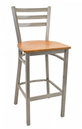 Grey Frame,3 Slat Ladder Back Metal Barstool w/ Veneer Seat