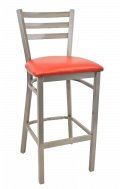 Grey Frame,3 Slat Ladder Back Metal Barstool w/ Vinyl Seat