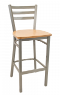 Grey Frame,3 Slat Ladder Back Metal Barstool w/ Wood Seat