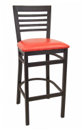 High Ladder Back Metal Barstool w/ Vinyl Seat