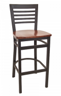 High Ladder Back Metal Barstool w/ Wood Seat