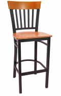Vertical Slat Back Metal Barstool w/ Cherry Back and Veneer Seat