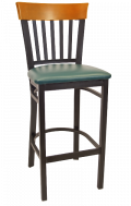 Vertical Slat Back Metal Barstool w/ Cherry Back and Vinyl Seat