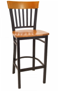 Vertical Slat Back Metal Barstool w/ Cherry Back and Wood Seat