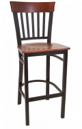 Vertical Slat Back Metal Barstool w/ Dark Mahogany Back and Veneer Seat