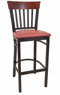 Vertical Slat Back Metal Barstool w/ Dark Mahogany Back and Vinyl Seat