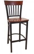 Vertical Slat Back Metal Barstool w/ Dark Mahogany Back and Wood Seat