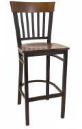 Vertical Slat Back Metal Barstool w/ Walnut Back and Veneer Seat