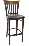 Vertical Slat Back Metal Barstool w/ Walnut Back and Vinyl Seat